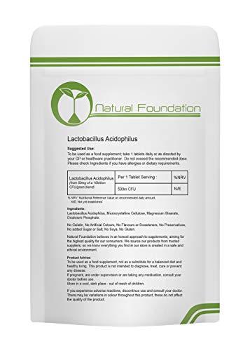 Acidophilus Lactobacillus Tablets High Strength 500m CFU (Actual British Value) for Gastrointestinal Health | Natural…