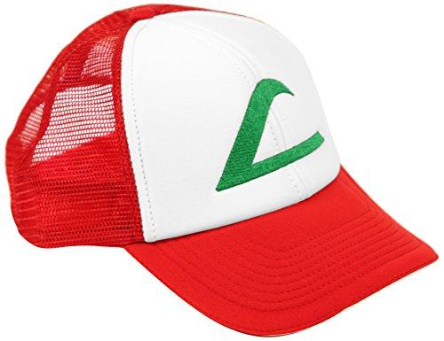 Ash Ketchum Cosplay Hat Mesh Cap w/Plastic Snap Closure - Adult Size