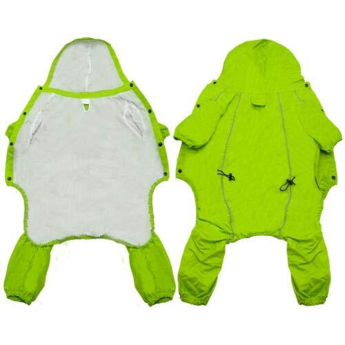 FidgetGear Reflective Waterproof Dog Raincoat Suit Pet Rain Coat Hoodie Jacket Outdoor Green L