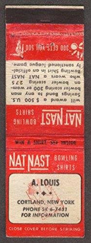 A Louis: Nat Nast Bowling Shirts Cortland NY matchcover by The Jumping Frog