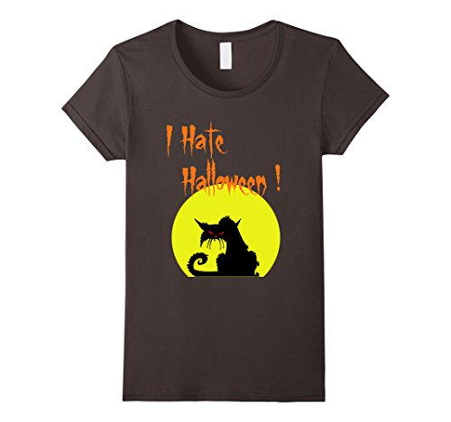Womens Black Cat I Hate Halloween Costume T-Shirt Small (Cat Hates Halloween Costume)