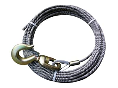 "Super Strong BA Products 4-S1250S Super Swage 1/2"" x 50' Winch Cable with Swivel Hook, 6 x 26 IWRC Wire Rope for Wrecker, Tow Truck, Rollback, Crane, etc."