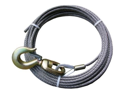 Super Strong BA Products 4-S3850S Super Swage 3/8' x 50' Winch Cable with Swivel Hook 6 x 26 IWRC Wire Rope for Wrecker, Tow Truck, Rollback, Crane, etc.