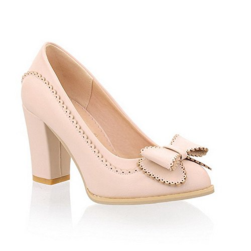 BalaMasa Womens Pull On High Heels Solid Beige Urethane Pumps Shoes APL00255-6.5 B(M) US -