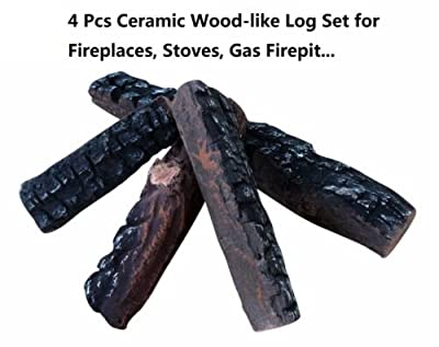 4 Piece Set of Ceramic Wood Logs Large Gas Fireplace Logs. All Types of Indoor, Gas Inserts, Ventless & Vent Free, Electric, or Outdoor Fireplaces & Fire Pits. Realistic Clean Burning Accessories