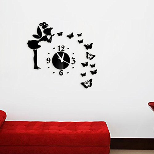 Alrens_DIY(TM)Black Angel Beauty Butterfly Figure Art Mordern Luxury Design DIY Removable 3D Crystal Mirror Wall Clock Acrylic Non-ticking Quiet Quartz Clock Wall Sticker Home Decor Art Living Room Bedroom Decoration