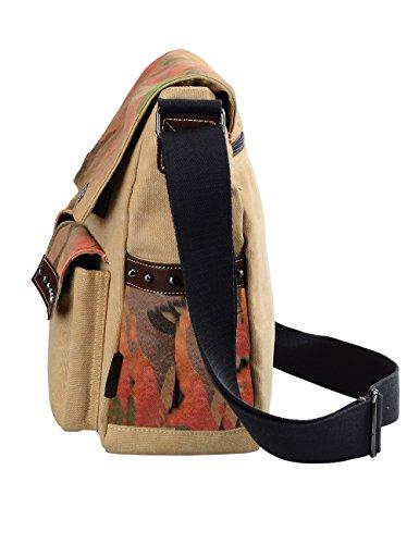Douguyan- Moda Bolsos al hombro de Lona para Unisex Bolso Bandolera Viaje Ocio Mochilas Bandolera E00165 Caqui Caqui
