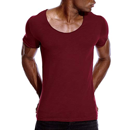 Deep Vee T-shirt - Mens Deep V Neck T Shirts Scoop Neck Slim Fit Basic Tee Casual Top Wine XL