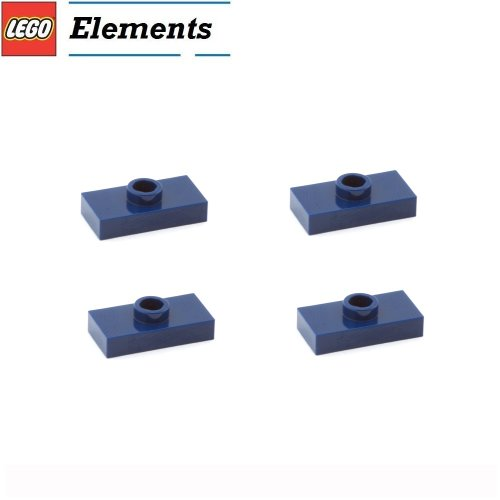 Lego-Parts-Plate-Modified-1-x-2-with-1-Stud-Jumper-PACK-of-4-Dark-Blue