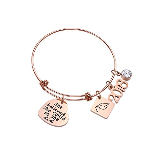 ivyAnan Jewellery She Believed She Could So She Did Adjustable Inspirational Bangle Bracelets for Women Girls Daughter(She Believe-RG) -