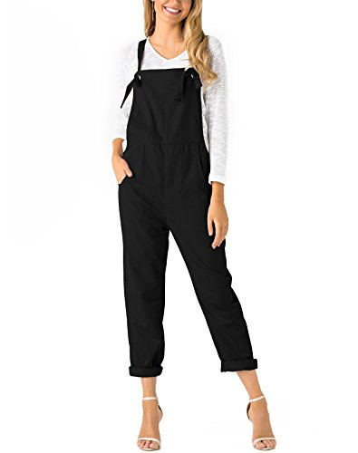 YOINS Overalls for Women Classic Bib Overall Baggy Denim Jumpsuit Square Neck Adjustable Strap Loose Sleeveless Rompers for Girls Black...