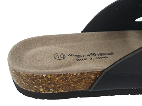 Image of ASHVIEE Slide Sandals Cork Footbed Slide Sandals