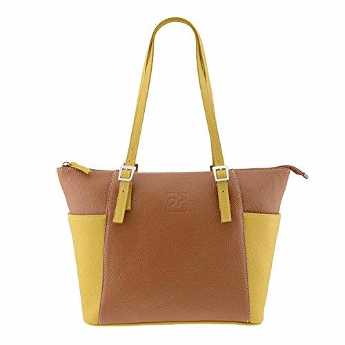 Paula Alonso Bolso piel con bolsillos Cuero-amarillo