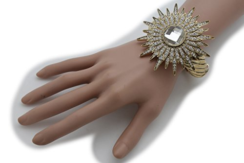 TFJ Women Fashion Jewelry Wrist Metal Cuff Bracelet Gold Big Flower Silver Beads (Madonna Material Girl Fancy Dress)