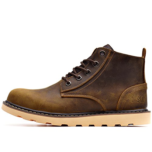 Scarpe casual maschile vestito alpinismo autunno all'aperto [fondo morbido] stivali slip on marrone-nero-A Lunghezza piede=38.5EU