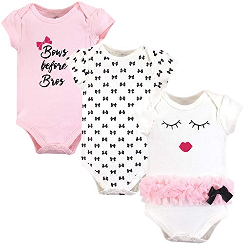Little Treasure Unisex Baby Cotton Bodysuits, Bows 3Pk Short Sleeve, 12-18 Months (18M)