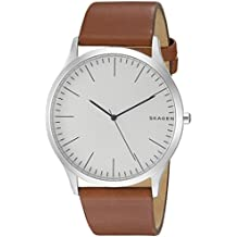 Skagen Men's Jorn Quartz Stainless Steel and Leather Casual Watch, Color: Silver-Tone, Brown (Model: SKW6331)