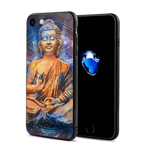 "Greatmindo Psychedelic Buddha India Peaceful Spa iPhone 7/8 Case Silicone Case Gel Rubber Slim Fit Soft Cover Full Body Protection for iPhone 7/iPhone 8 (4.7"")"