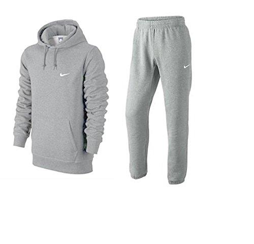 Nike Herren Trainingsanzüge Mens Fleece Jog Suit Hooded Swoosh Tracksuit Hoodie JogPant Set Black/Grey/Navy S M L XL 61147/611459 New (MarlGrey, L)