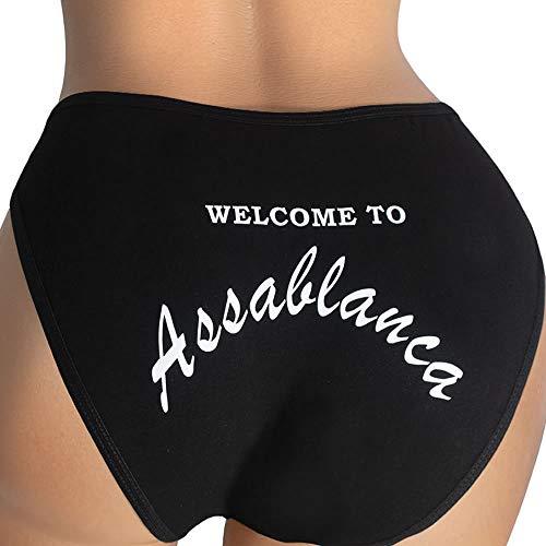 Ebsem Assablanca Panty Cute & Sexy Hipster Bikini Women's Undies String Underwear Casablanca Novelty Design Panties (Black, -