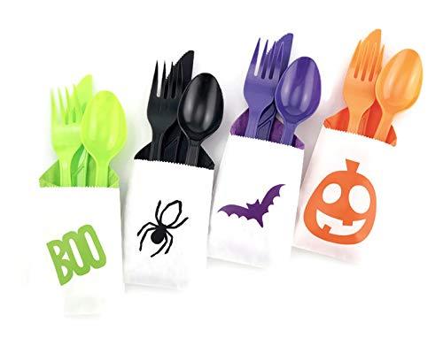 Halloween Cutlery - 24 Set Utensils Napkins Fall Harvest Pumpkin Party Supplies
