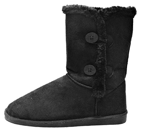 Fur Eskimo Boots - Womens Trish Soft Fur Lined Comfort Eskimo Boot with 2-Button Mid Calf Faux Suede Girls, Black, 7