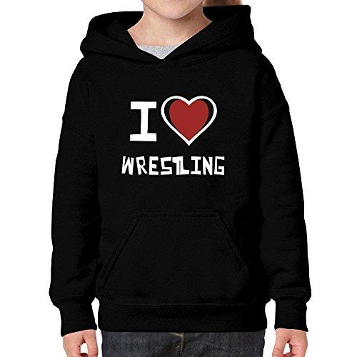 Teeburon I Love Wrestling Girl Hoodie by Teeburon