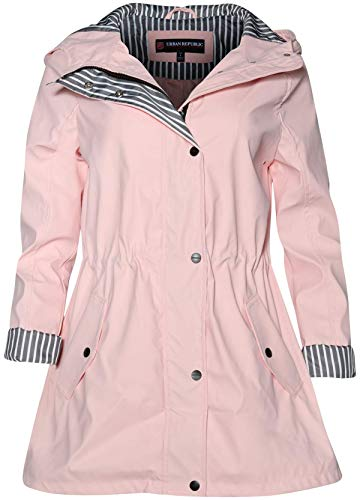 (Urban Republic Women's Lightweight Hooded Raincoat Jacket with Cinched Waist, Baby Pink, Size Large')