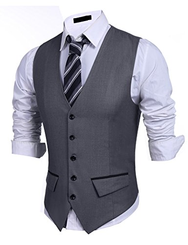 st, V-Neck 5 Button Slim Fit Formal Business Casual Waistcoat (Five Button Suit Vest)