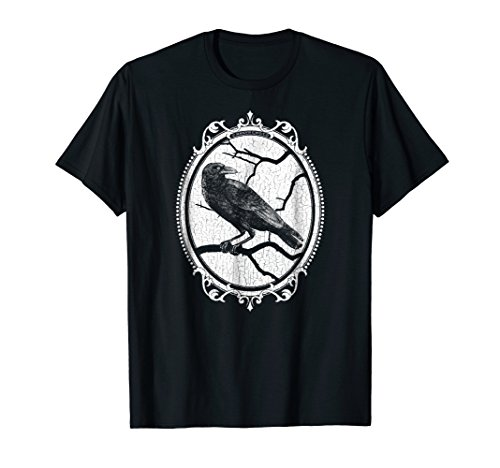 Gothic Raven in Victorian Style Frame Halloween T-Shirt by Grandiloquent Mercantile