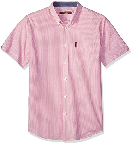 Ben Sherman Men's Short Sleeve Pencil Stripe Shirt, red, ()