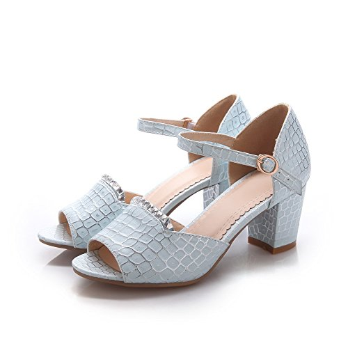 Amoonyfashion Womens Kitten-häl Mjukt Material Rutig Spänne Öppen Sandaletter Blå