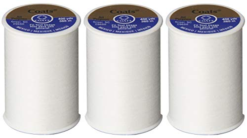 Coats & Clark All Purpose Thread 400 Yards White (One Spool of Yarn) (3)