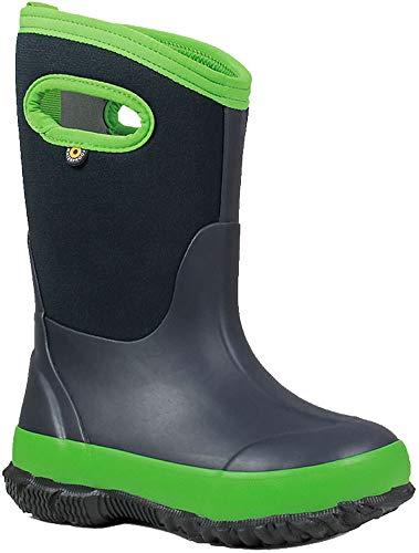 Bogs Classic High Waterproof Insulated Rubber Neoprene Rain Boot Snow, Matte Navy/Green, 11 M US Little Kid