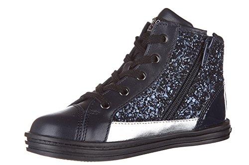 Hogan Rebel chaussures baskets hautes sneakers enfant filles en cuir neuves r141