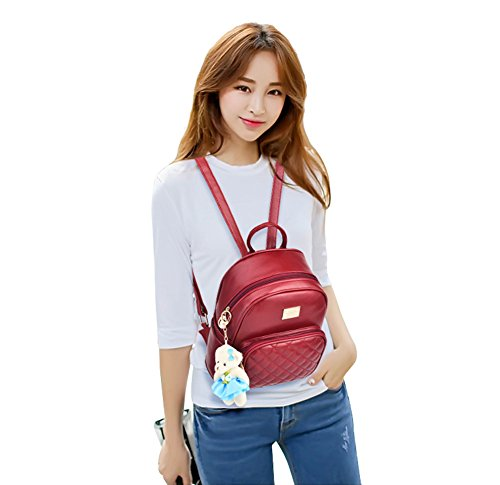 Satchel Leather School Purse Women Mogor Bags for Knapsack Red Backpack College PU 6XEwT