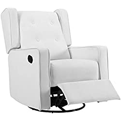 Naomi Home Odelia Swivel Gliding Rocker Recliner Microfiber/Bright White