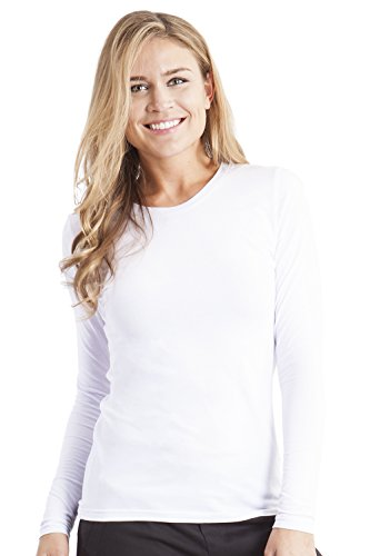 Healing Hands Scrubs Melissa 5047 Knit Long Sleeve Underscrub Tee Shirt- White- XS Cotton Stretch Long Sleeve Tee