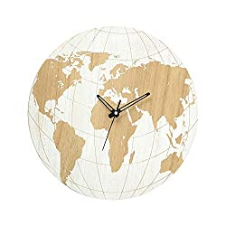 Contemporary World Map Art Clock, Quartz Movement, Unfinished Wood Grain, Uneven White Paint, Black Hour, Minute and Second Hands, Round, Battery Operated (1 AA ) 15 1/4 Inches Diameter (39 cm)