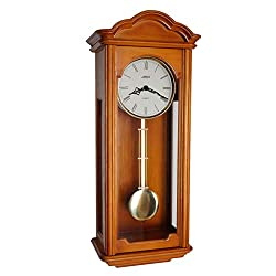 JUSTIME 26.5-inch Solid Wood Chestnut Pendulum Wall Clock with Hourly Westminster Chime and Strike, Night Off - P00059