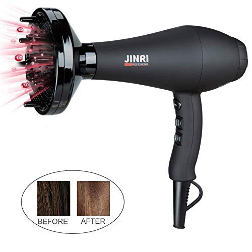 Jinri 1875W Far Infrared Hair Dryer with Diffuser Powerful S