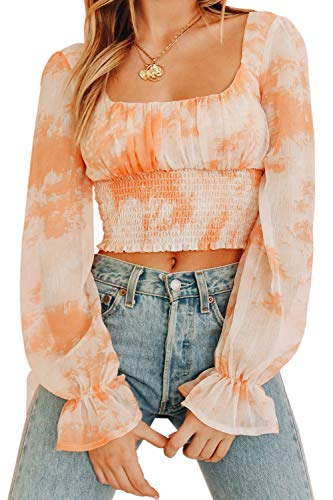 CILKOO Women Stylish Floral Frill Smocked Crop Tank Top Long Sleeve Chiifon Blouse Shirts Tops Orange US8-10 - Frill Chiffon