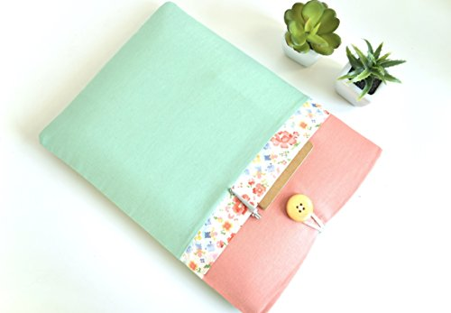 Custom-Fit-MacBook-or-Laptop-Case-Sized-for-Any-Model-11-12-13-133-14-15-156-Floral-Mint-and-Mango