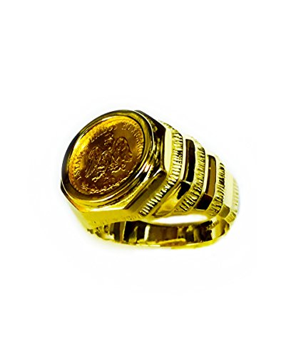 - 14K Gold Mens 17Mm Coin Ring With A 22K Mexican Dos Pesos Coin-Random Year Coin