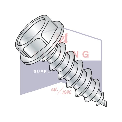 1/2X1 1/2 Type A Self-Tapping Screws | Unslotted | Hex Washers Head | Steel | Zinc (QUANTITY: 300) by Jet Fitting & Supply Corp