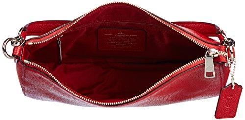 Borse a Spalla Coach Donna Pelle Rosso e Argento 56819SVDE3 Rosso 6.5x18x28 cm