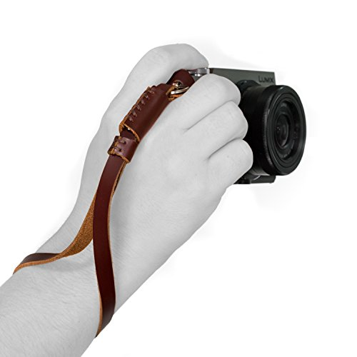 MegaGear Leather Digital SLR Camera, Camcorder Hand Strap for Sony A6000, A6300, A5100, FujiFilm X30, X100T (Dark Brown)