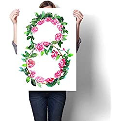 """Anshesix Art-Canvas Prints Watercolor Sketch of March Women`s Day Greeting Card Template Isolated on White Background Customizable Wall Stickers 20""""x24"""""""