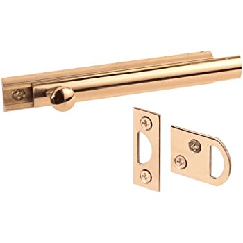 Prime-Line Products U 9961 4-Inch Surface Bolt, Solid Brass, Polished Brass Finish