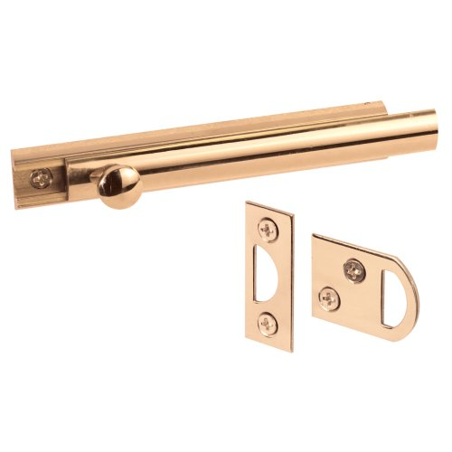 - Defender Security U 9961 4-Inch Surface Bolt, Solid Brass, Polished Brass Finish